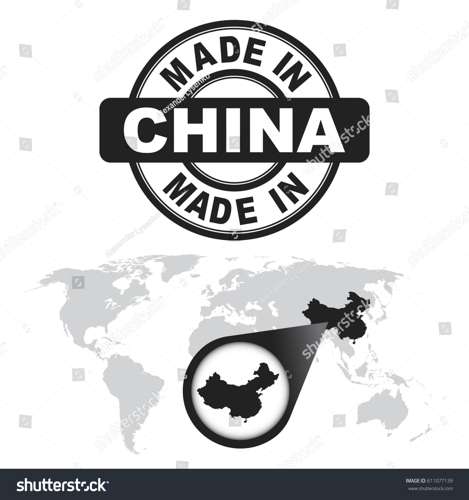 Made china stamp world map zoom stock vector 611077139 shutterstock made in china stamp world map with zoom on country vector emblem in flat gumiabroncs Choice Image