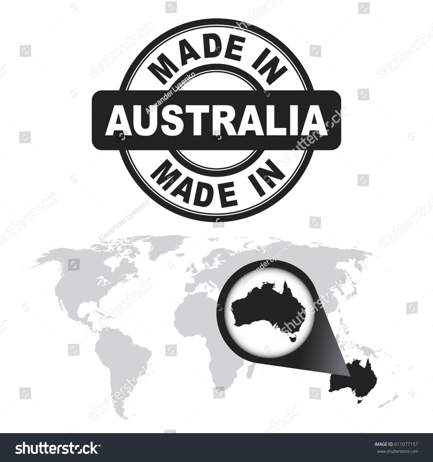 Made australia stamp world map zoom stock vector royalty free made in australia stamp world map with zoom on country vector emblem in flat gumiabroncs Image collections