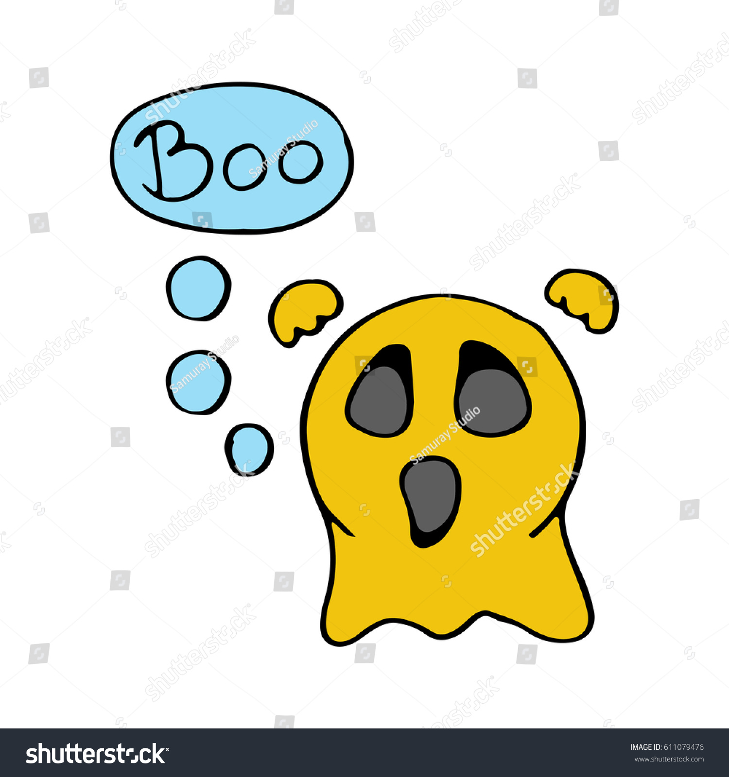 cute scary ghost emoticon say boo stock vector 611079476