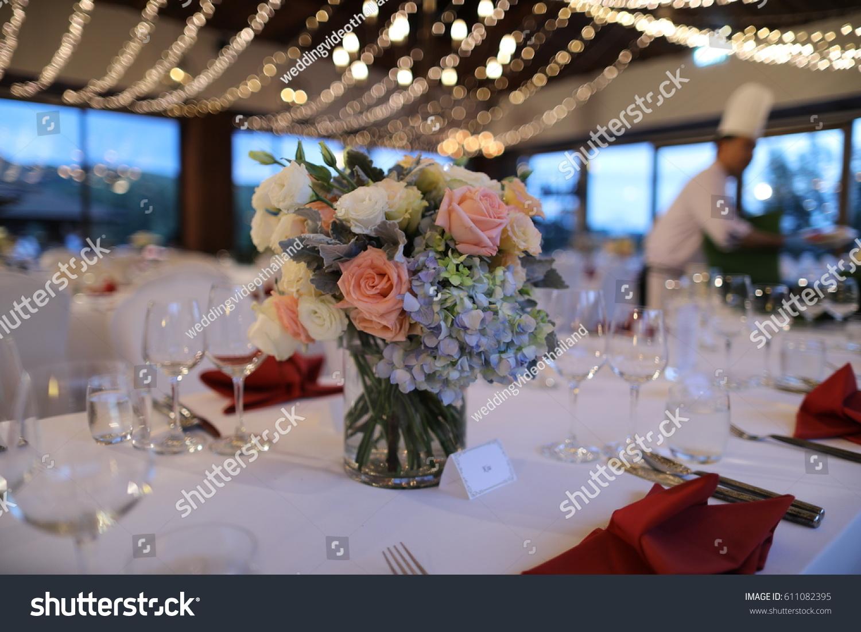 Dinner Set Up Wedding Reception Stock Photo Edit Now 611082395