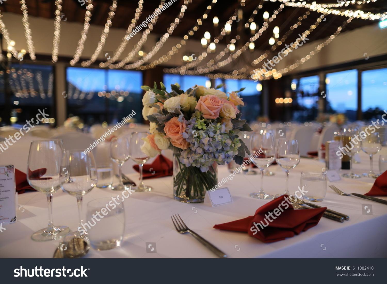Dinner Set Up Wedding Reception Stock Photo Edit Now 611082410