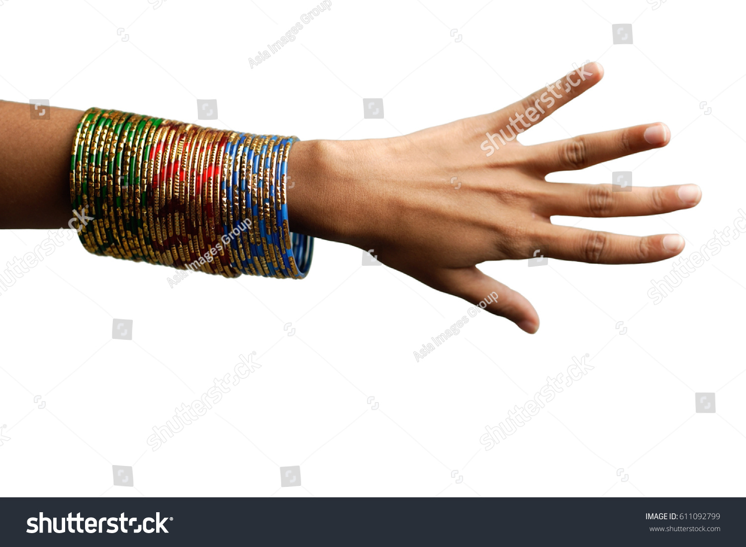 Womans Hand Many Bangles On Her Stock Photo 611092799 - Shutterstock
