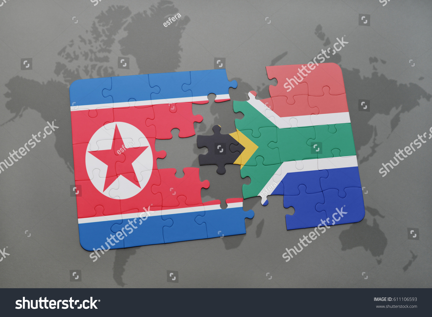 Puzzle National Flag North Korea South Stock Illustration 611106593 ...