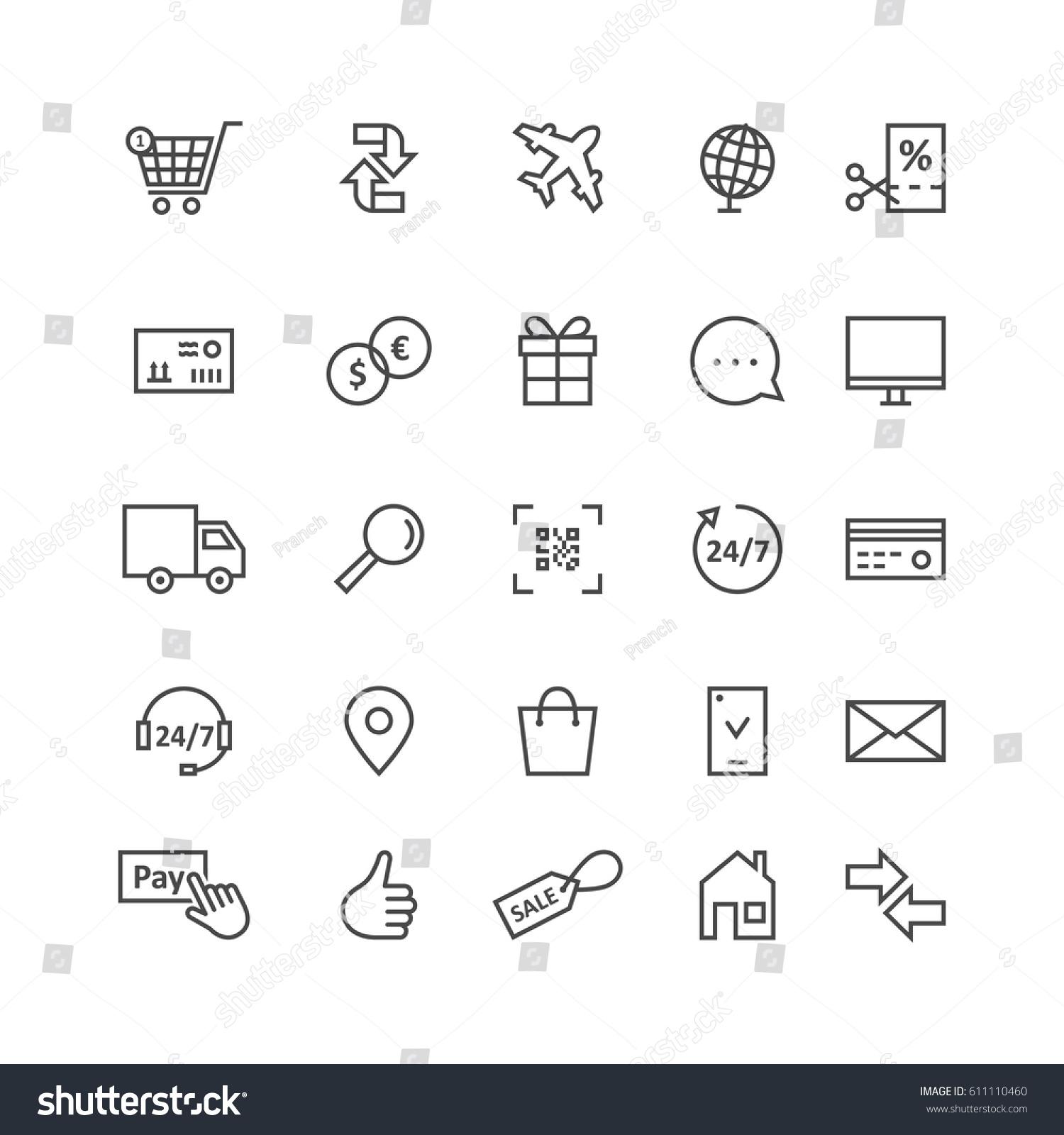 Simple Black Thin Line Icons E merce Stock Vector Royalty Free