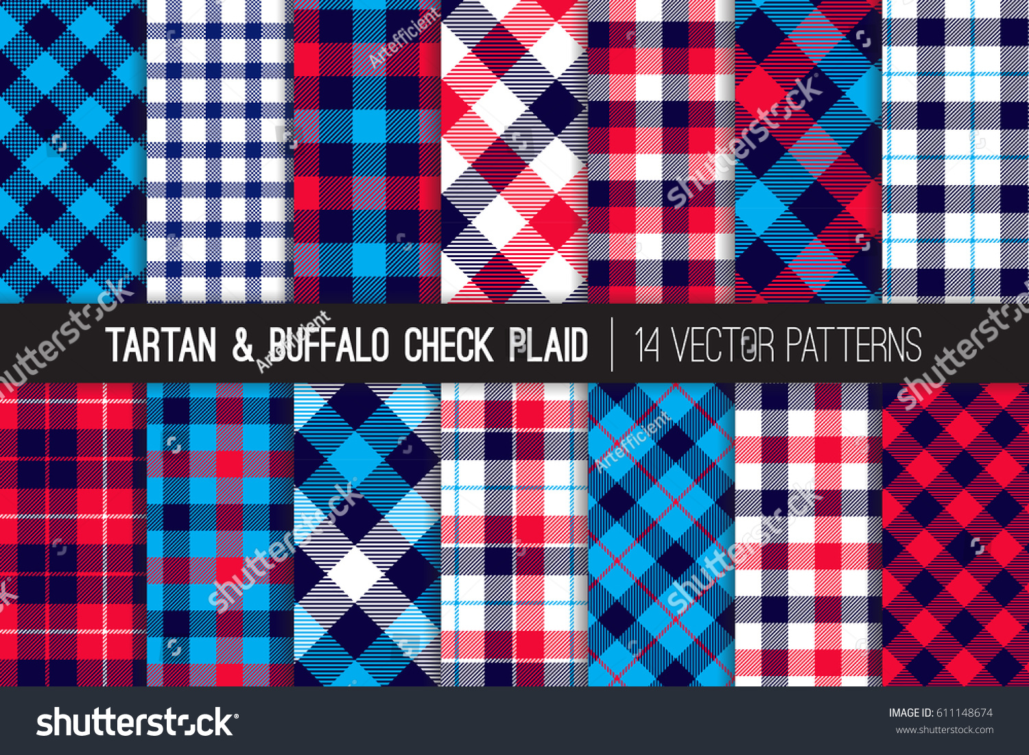 Patriotic Red, White, Blue Tartan and Buffalo Check Plaid Vector Patterns. Hipster Lumberjack Flannel Shirt Fabric Textures. July 4th Independence Day Backgrounds. Pattern Tile Swatches Included.