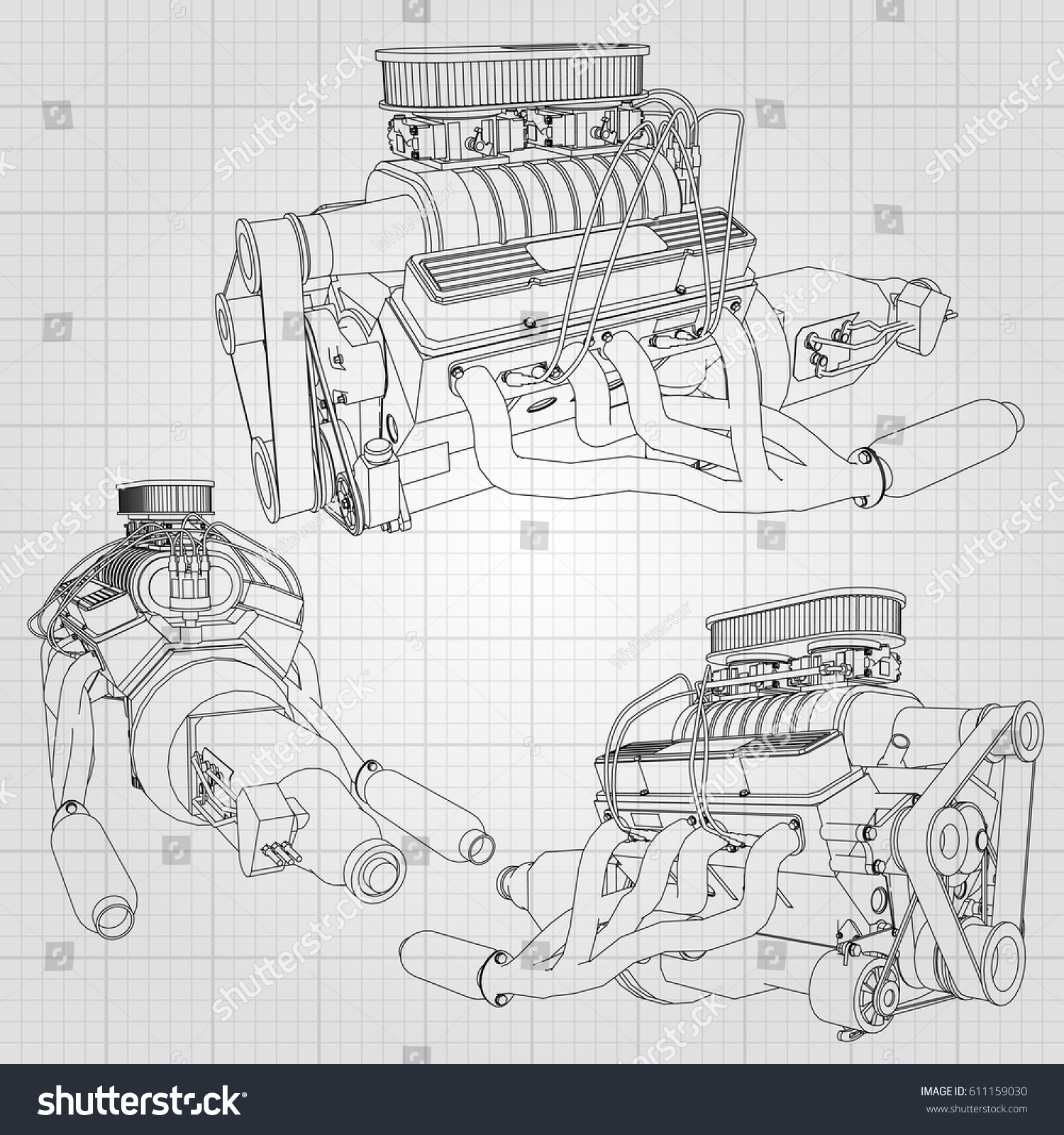 Set Several Types Powerful Car Engine Stock Photo (Photo, Vector ...