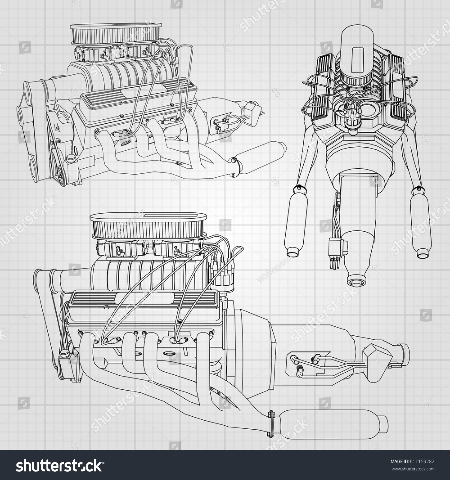 Set Several Types Powerful Car Engine Stock Vector 611159282 ...