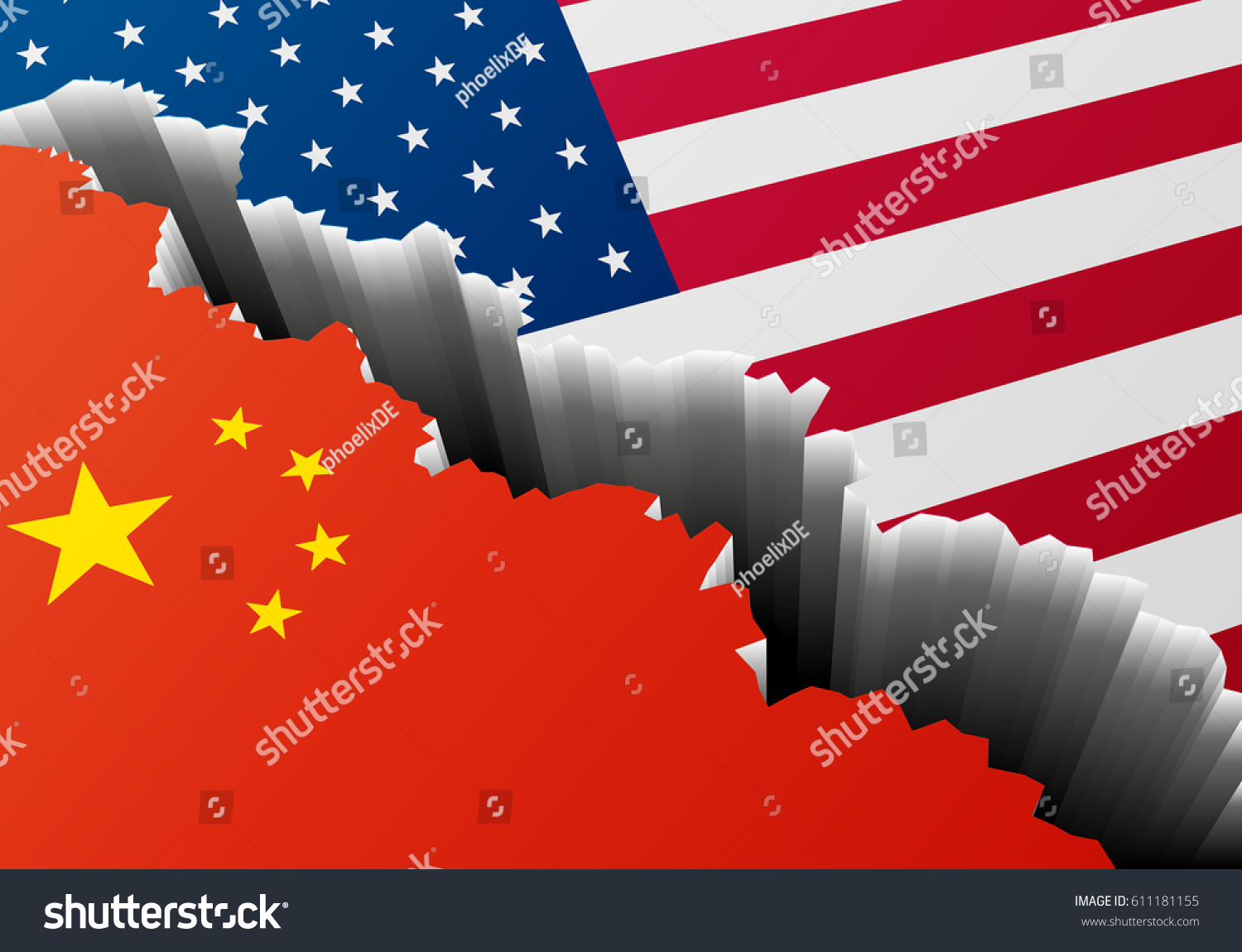 Detailed Illustration Chinese American National Flags Stock Photo