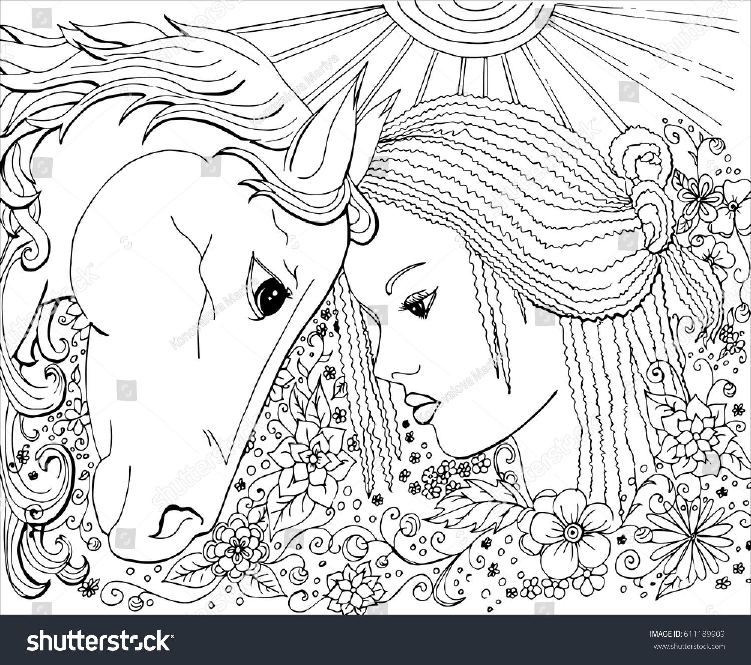 Vector Ornament Coloring Pages Adults Girl Stock Vector 611189909 ...