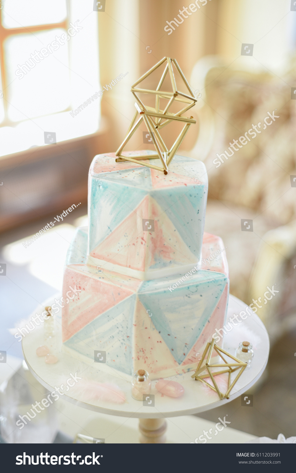 Wedding Decoration Wedding Cake Crystals Pink Stock Photo (Download ...