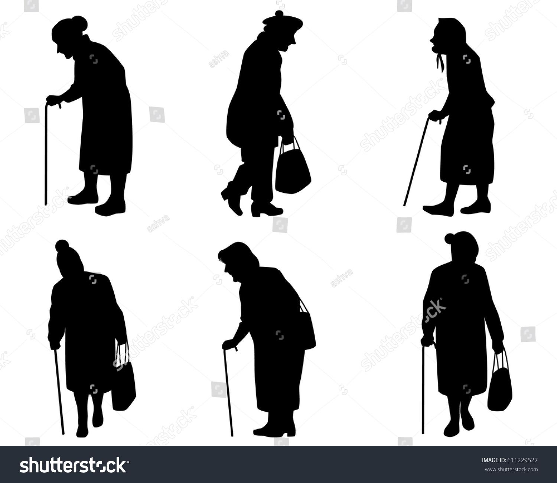 Vector Illustration Six Elder Women Silhouettes Stock Vector