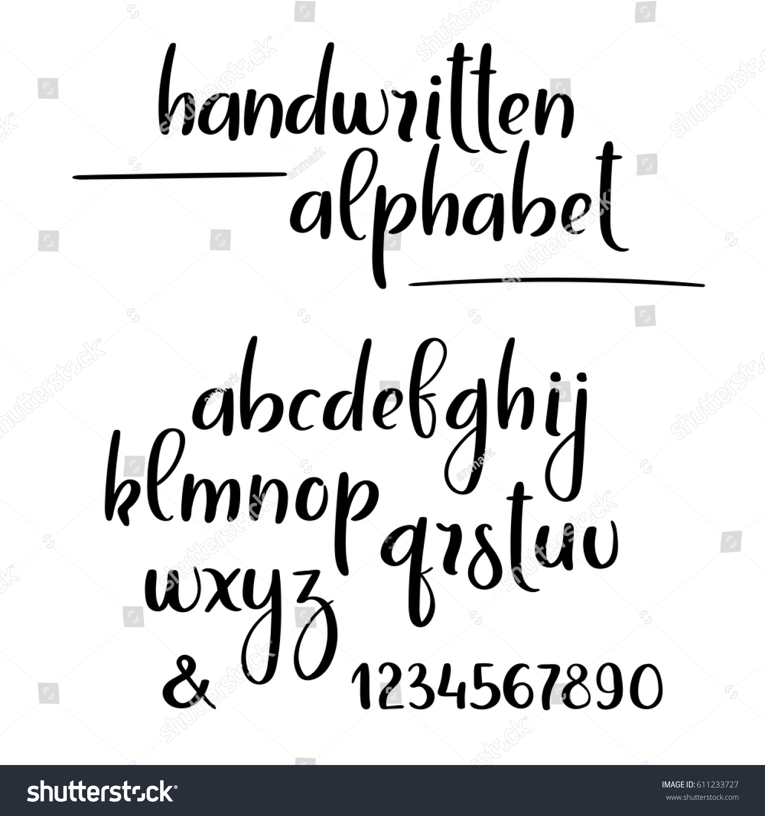 Brush calligraphy alphabet hand lettering brushpen stock