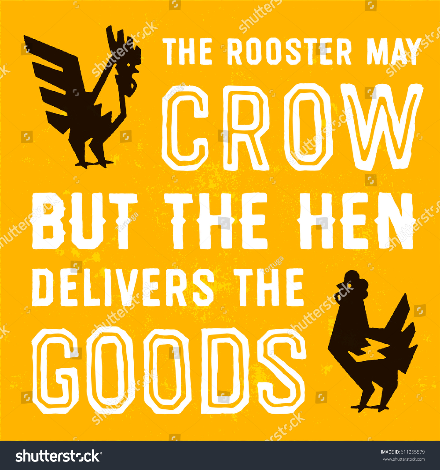 Hand Lettering Vintage Quote Sign Rooster Stock Vector 611255579 ...