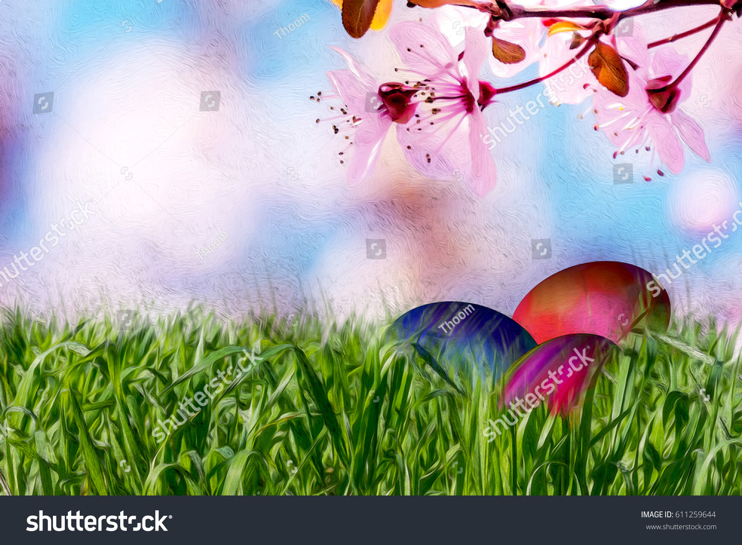 Easter Background With Colorful Painted Eggs In The Grass Spring Flowers