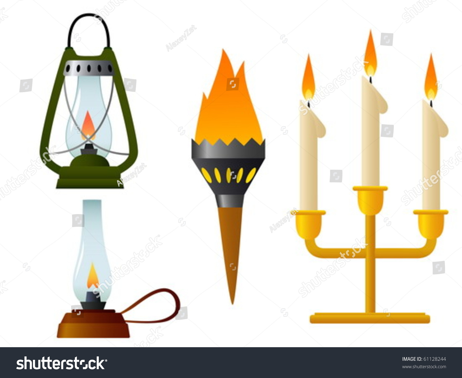 Set Flame Old Lamp Burning Light Stock Vector 61128244 - Shutterstock for Old Lamp Clipart  150ifm