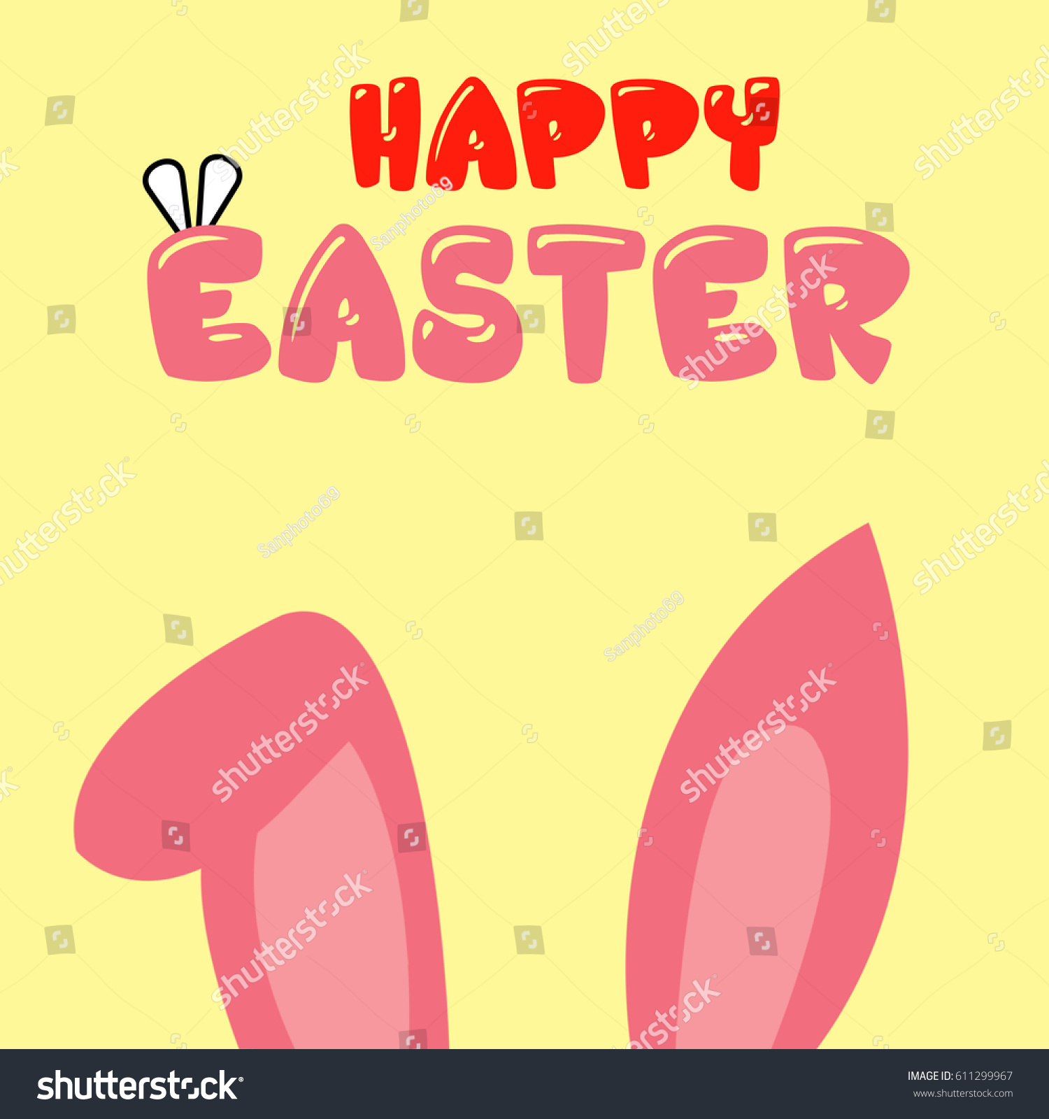 Happy Easter Greeting Card Holiday Free Space Stock Illustration