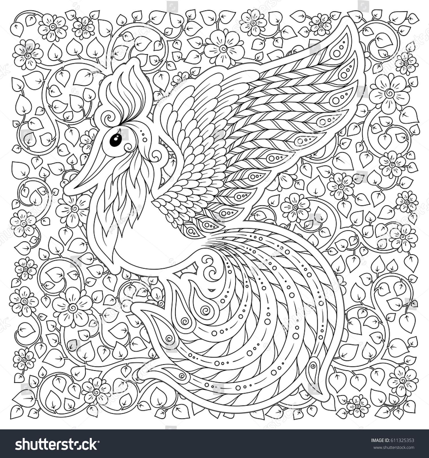 cute bird fantasy flower garden animals stock vector