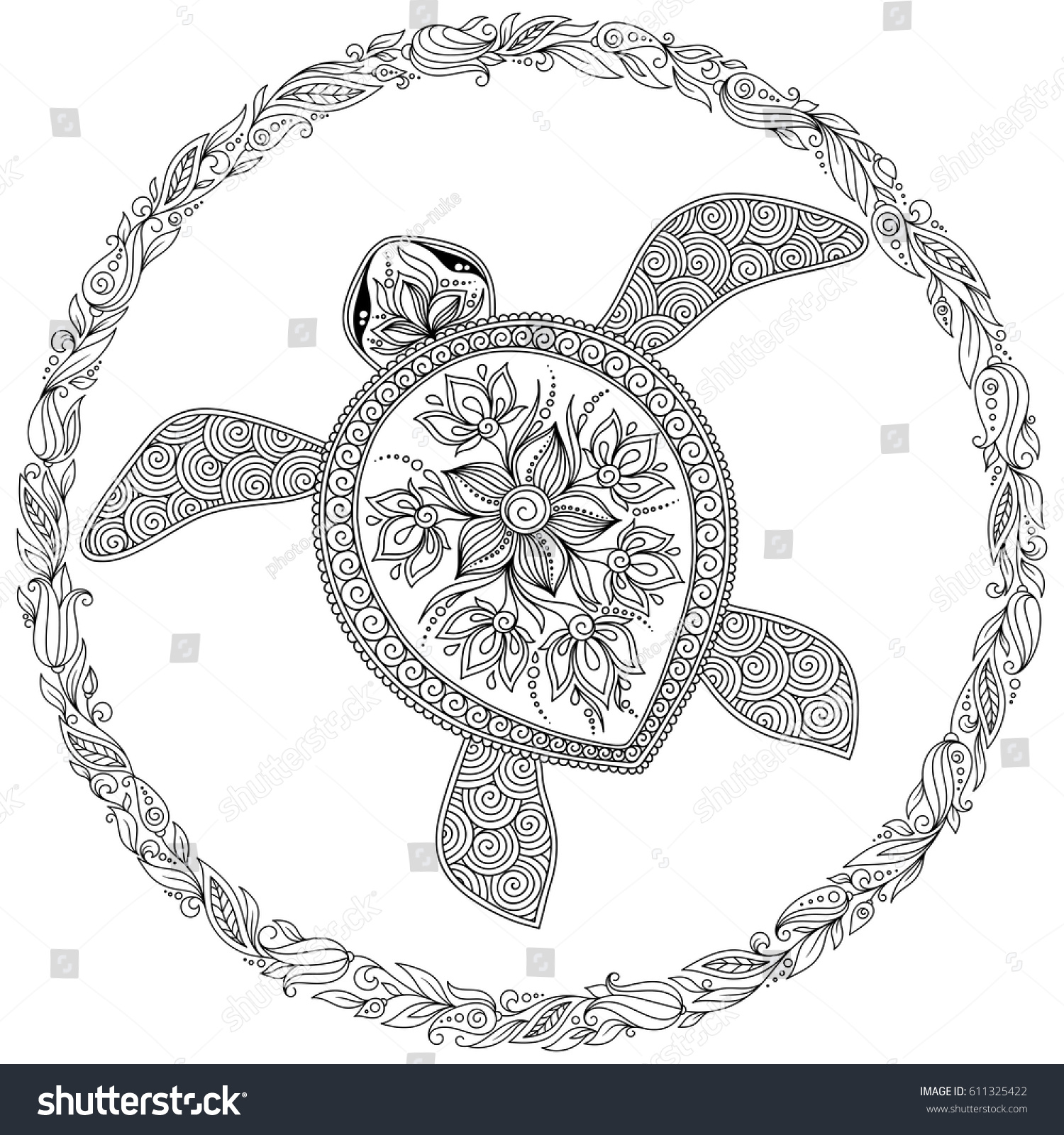 Coloring Book Adults Coloring Page Turtle Stock Vector 611325422 ...
