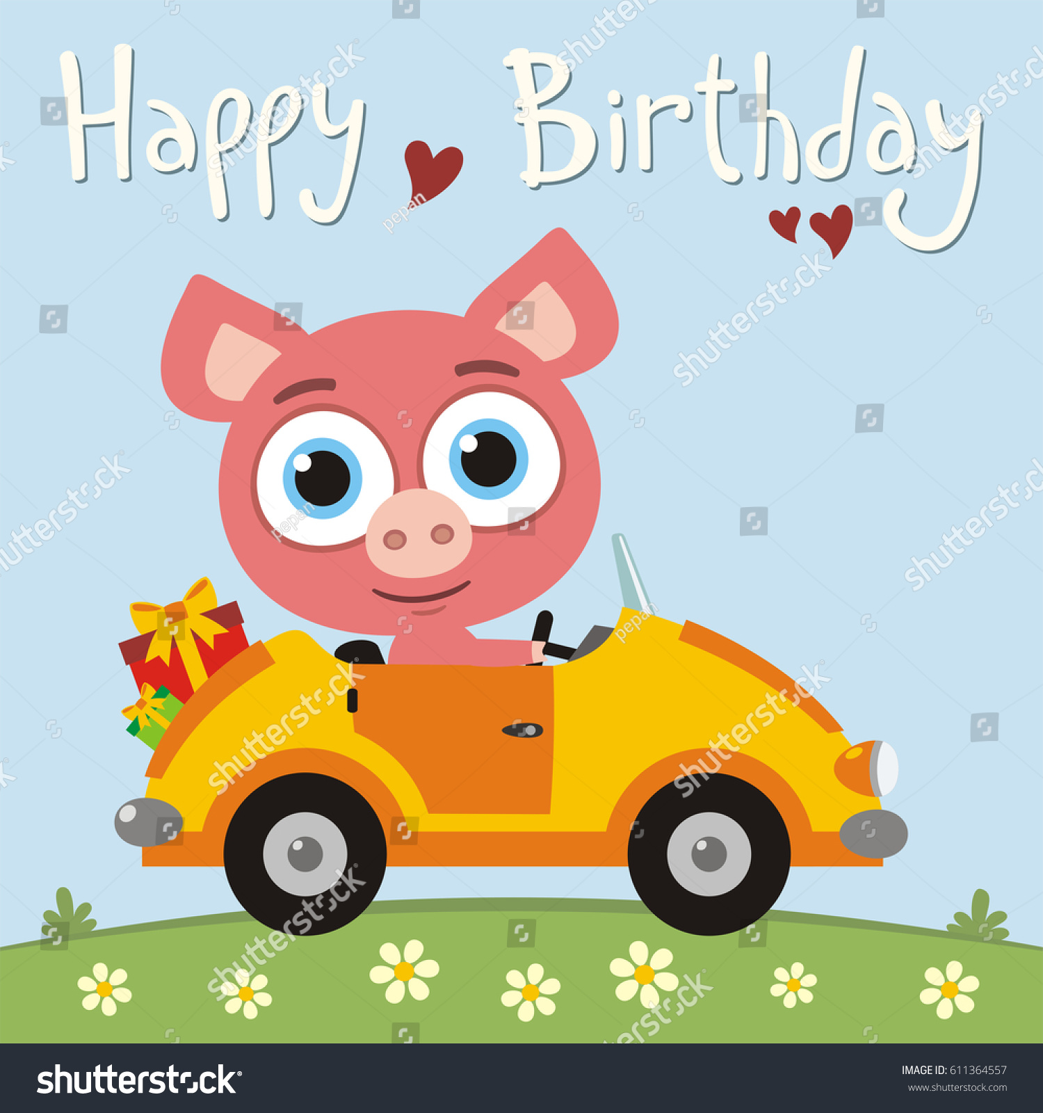 happy birthday funny pig going car stock vector 611364557