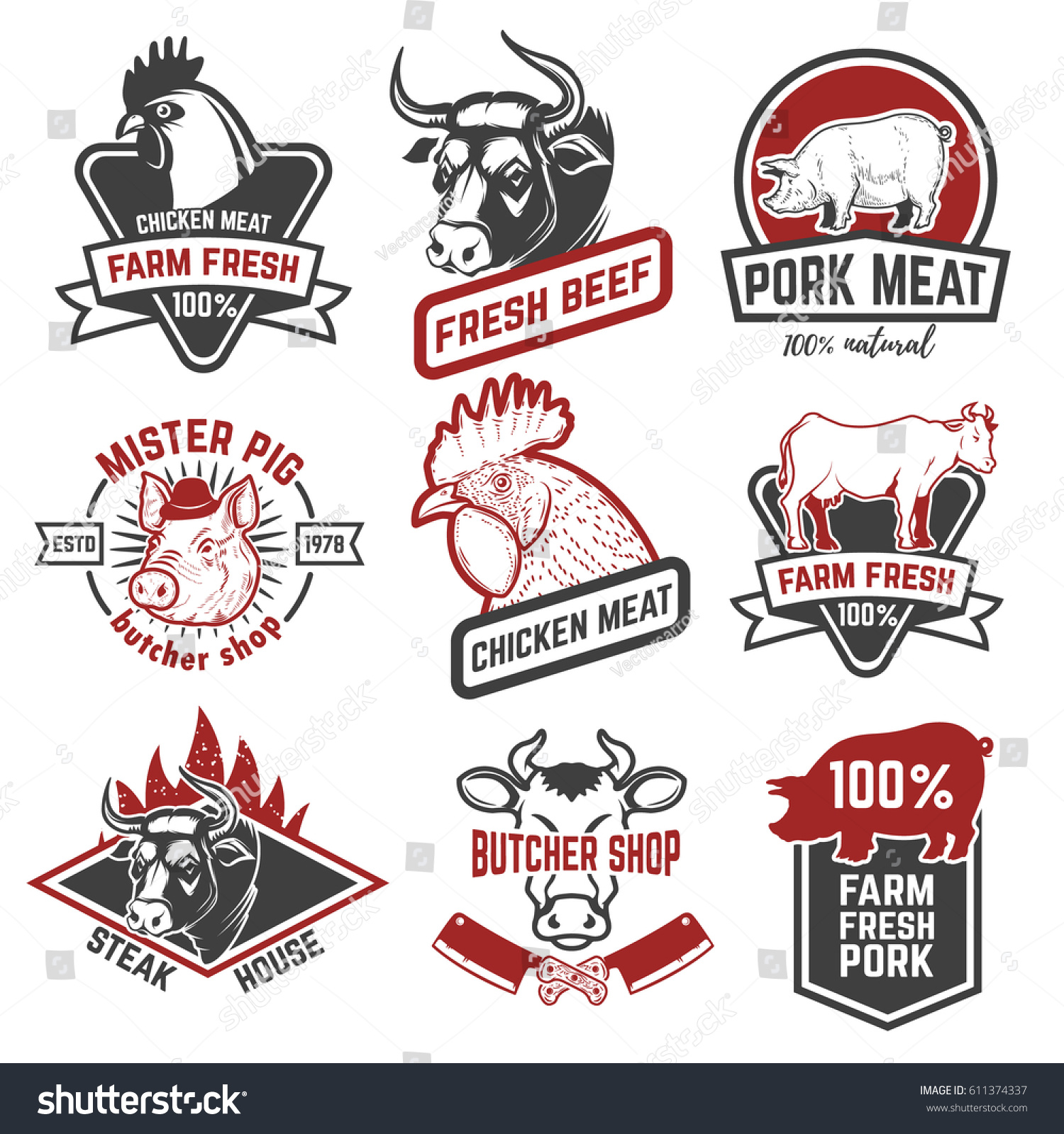 Beef Chicken Pork Meat Labels On Stock Vector 611374337