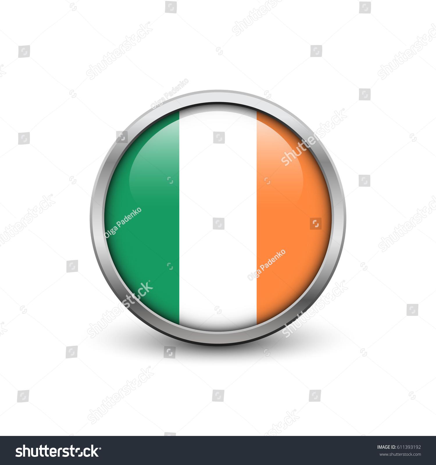 flag ireland button metal frame shadow stock vector 611393192