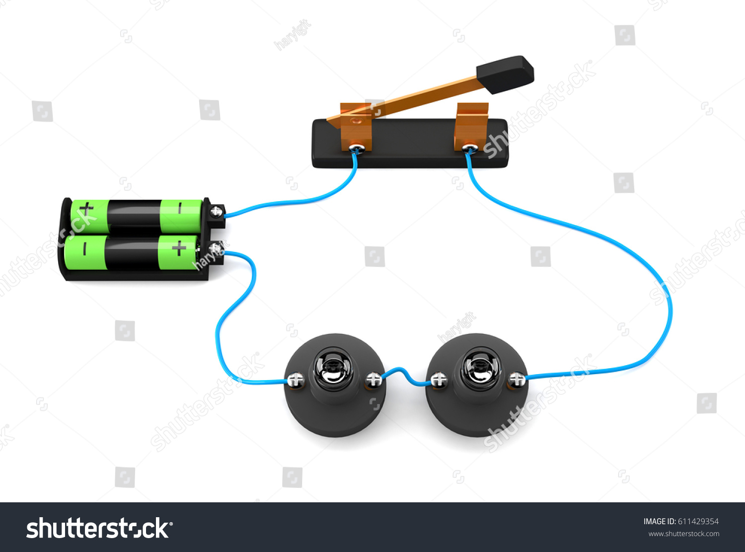 Simple Electric Circuit Series Connection On Stock Illustration White Background3d Rendering