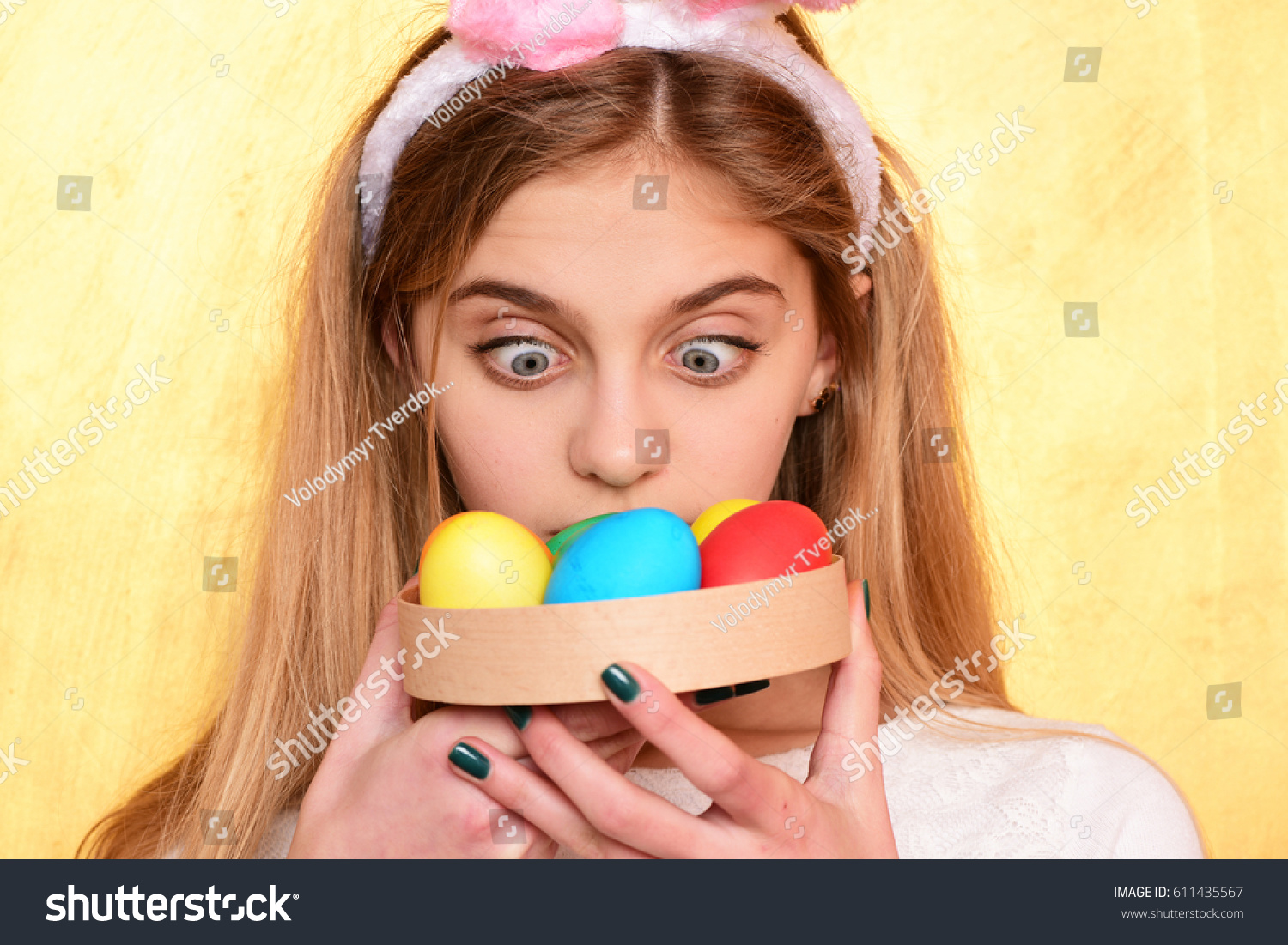 7eab1fda70 happy girl in pink bunny ears with long blonde hair and surprised adorable  face
