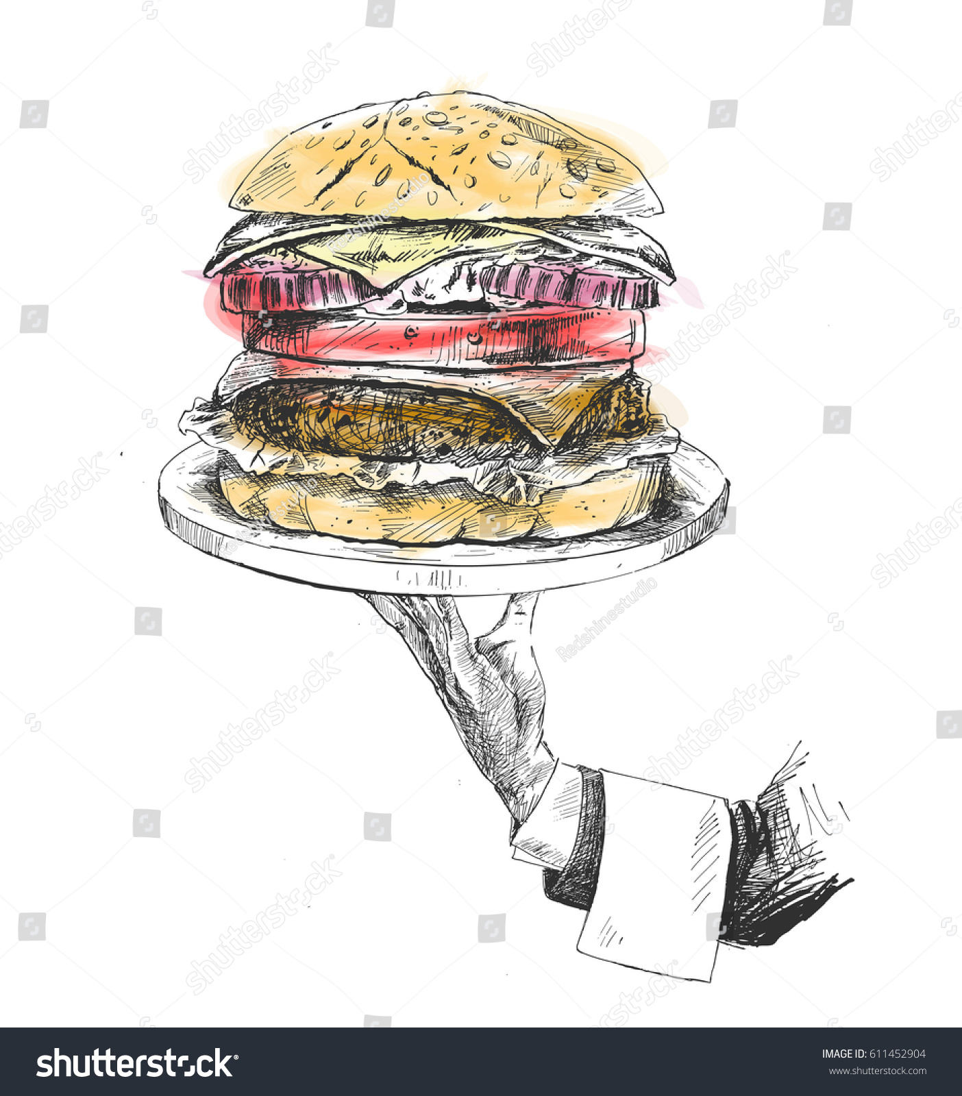 Human hand holding plate of hungry burger concept hand drawn sketch vector illustration