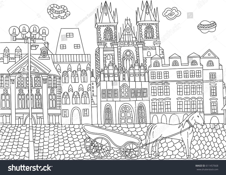 Coloring Adult Prague Czech Republic Coloring Stock Vector (Royalty ...