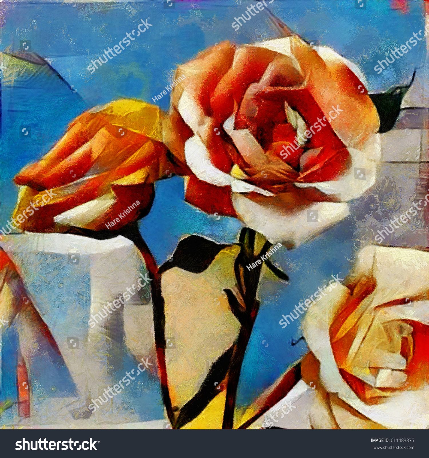 Roses Bouquet Beautiful Flowers Modern Style Stock Illustration