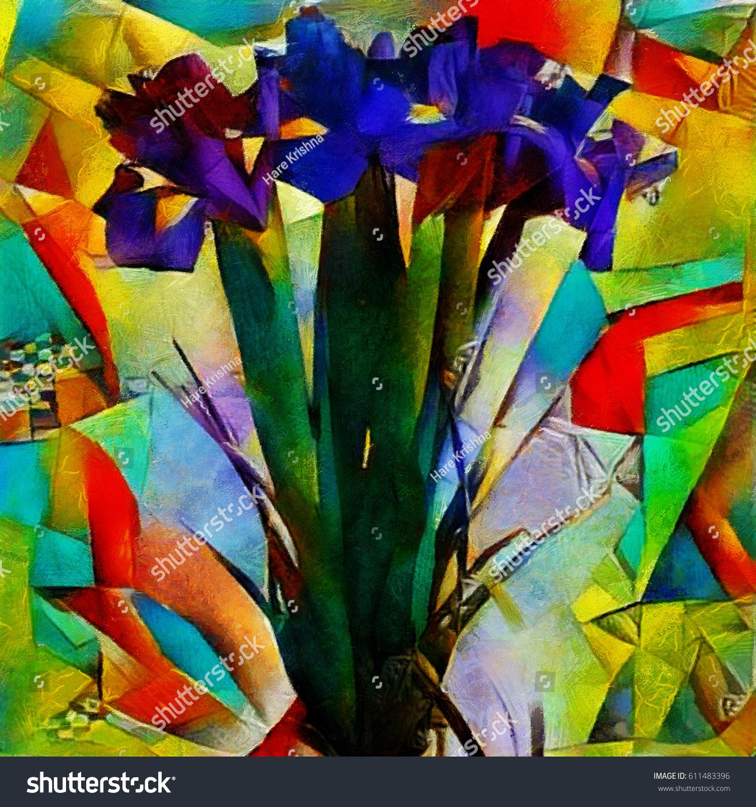 Irises Bouquet Beautiful Flowers Modern Style Stock Illustration