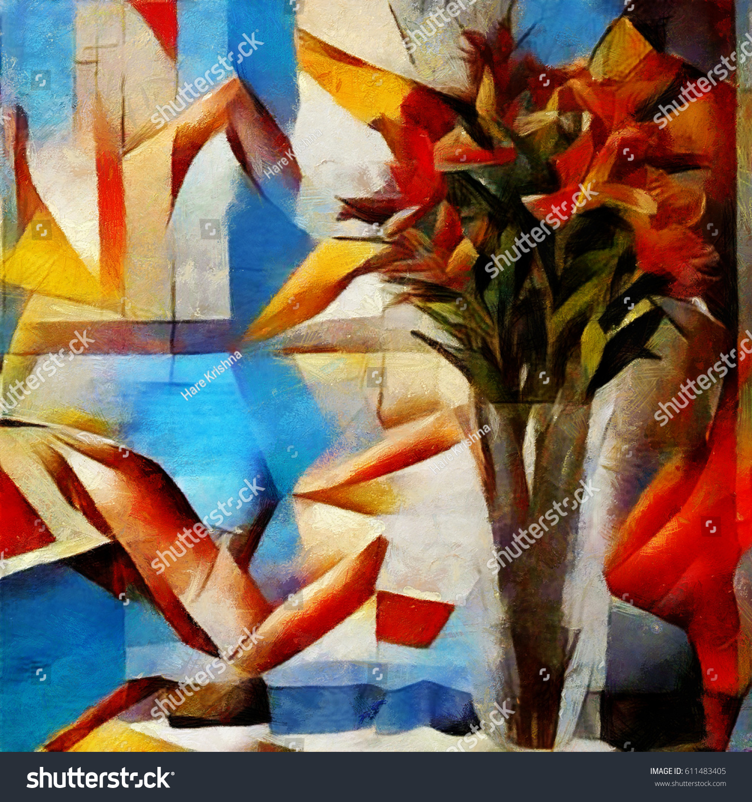 Lily Bouquet Beautiful Flowers Modern Style Stock Illustration
