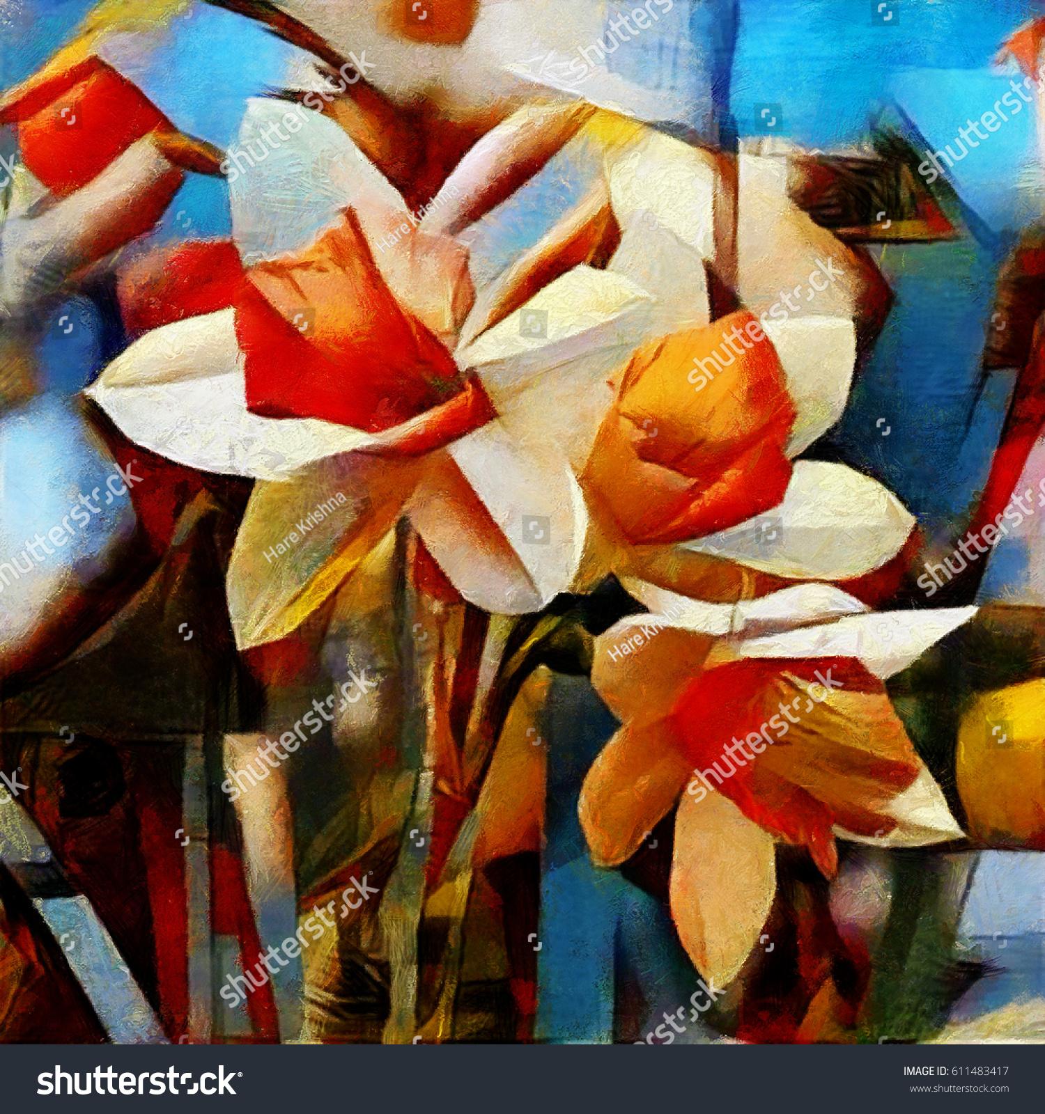 Daffodils Spring Bouquet Beautiful Flowers Modern Stock Illustration