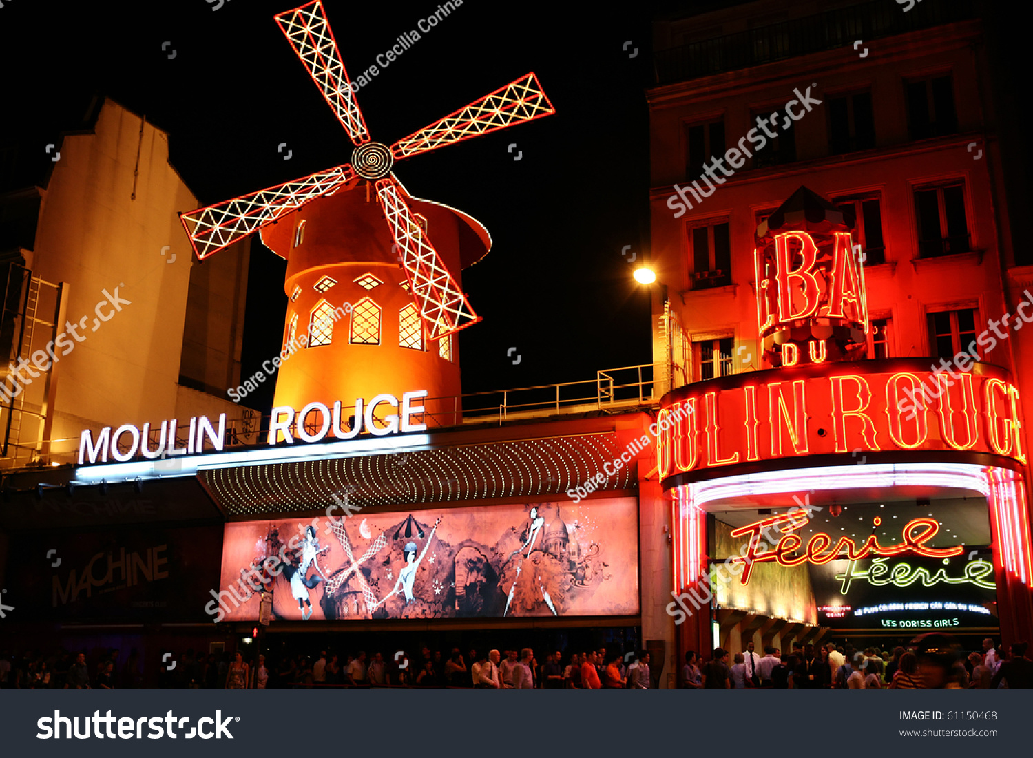 paris august 23 people queue for tickets in front of the moulin rouge famous cabaret and. Black Bedroom Furniture Sets. Home Design Ideas