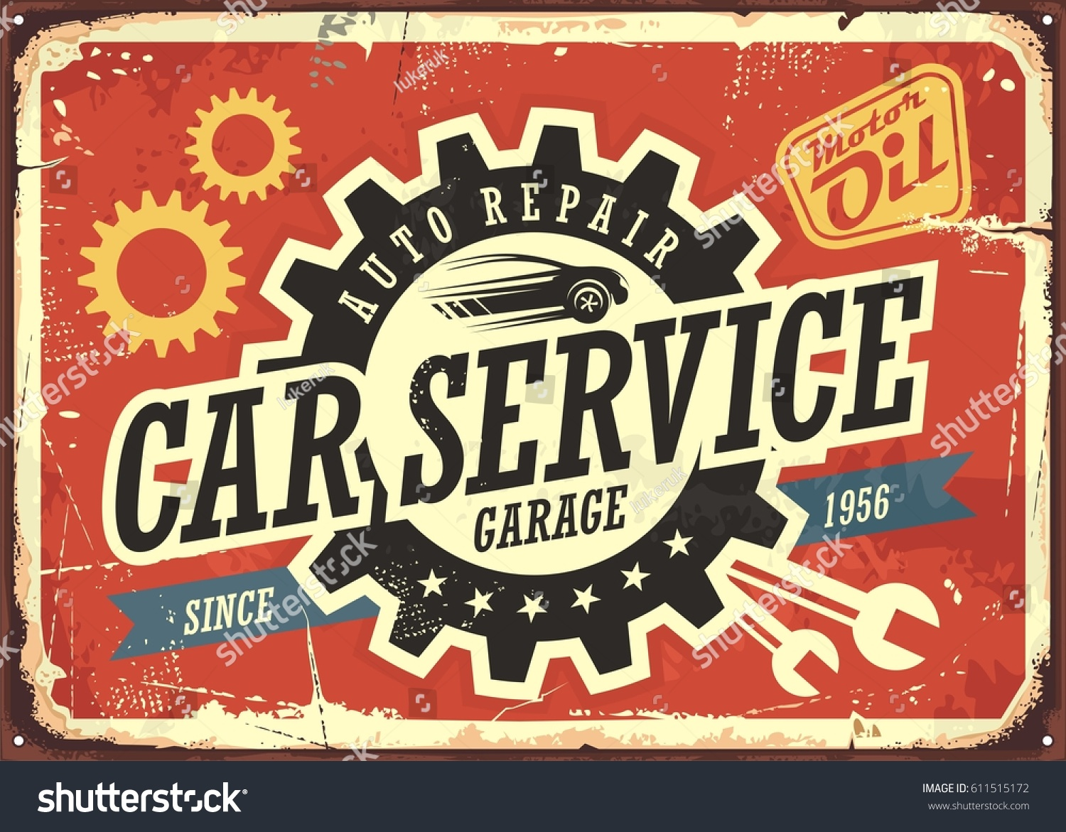 car service vintage tin sign design stock vector 611515172 car service vintage tin sign design concept for garage or auto mechanic retro signboard with