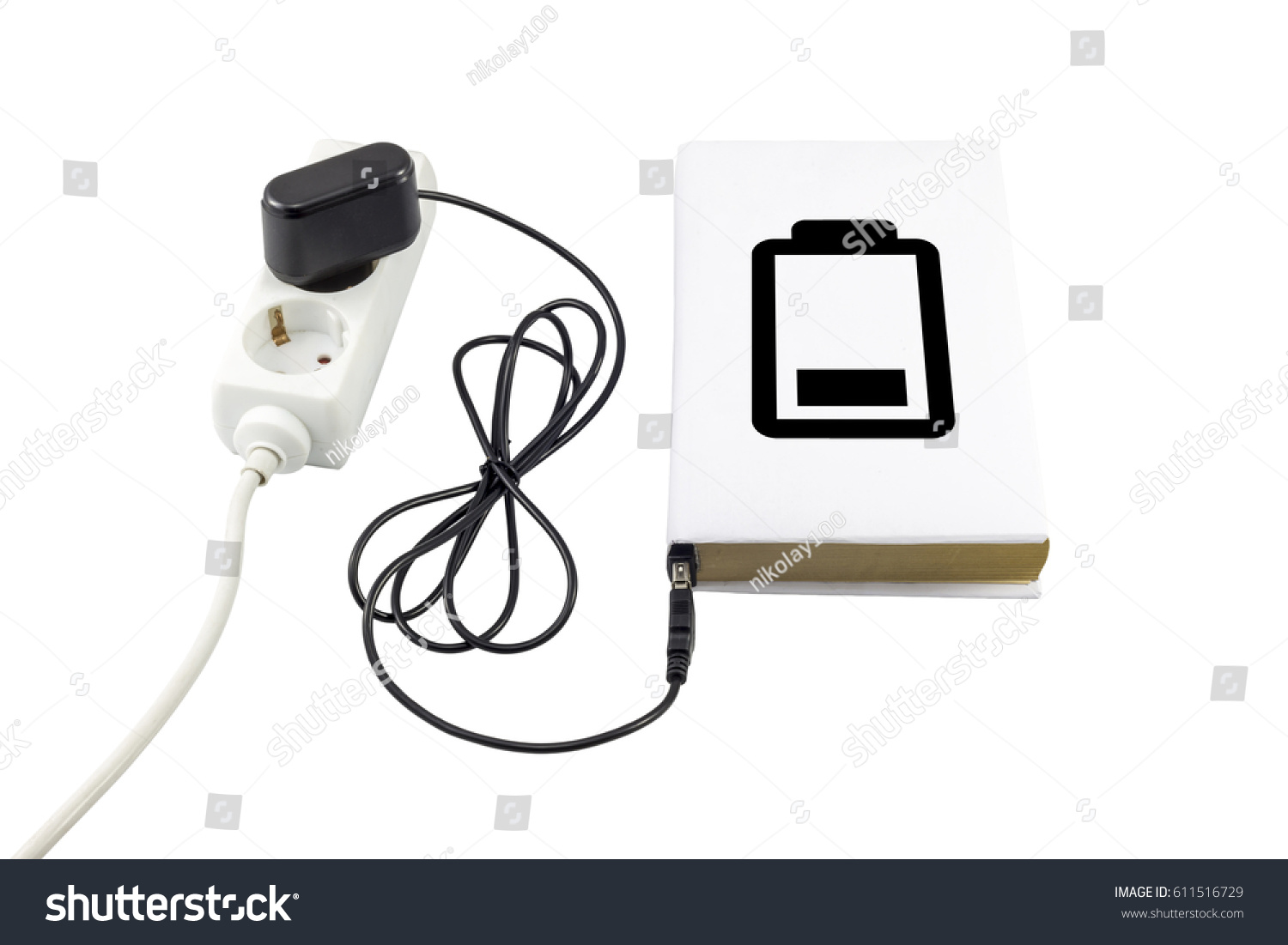 Book Connected Usb Charger Battery Symbol Stock Photo Edit Now