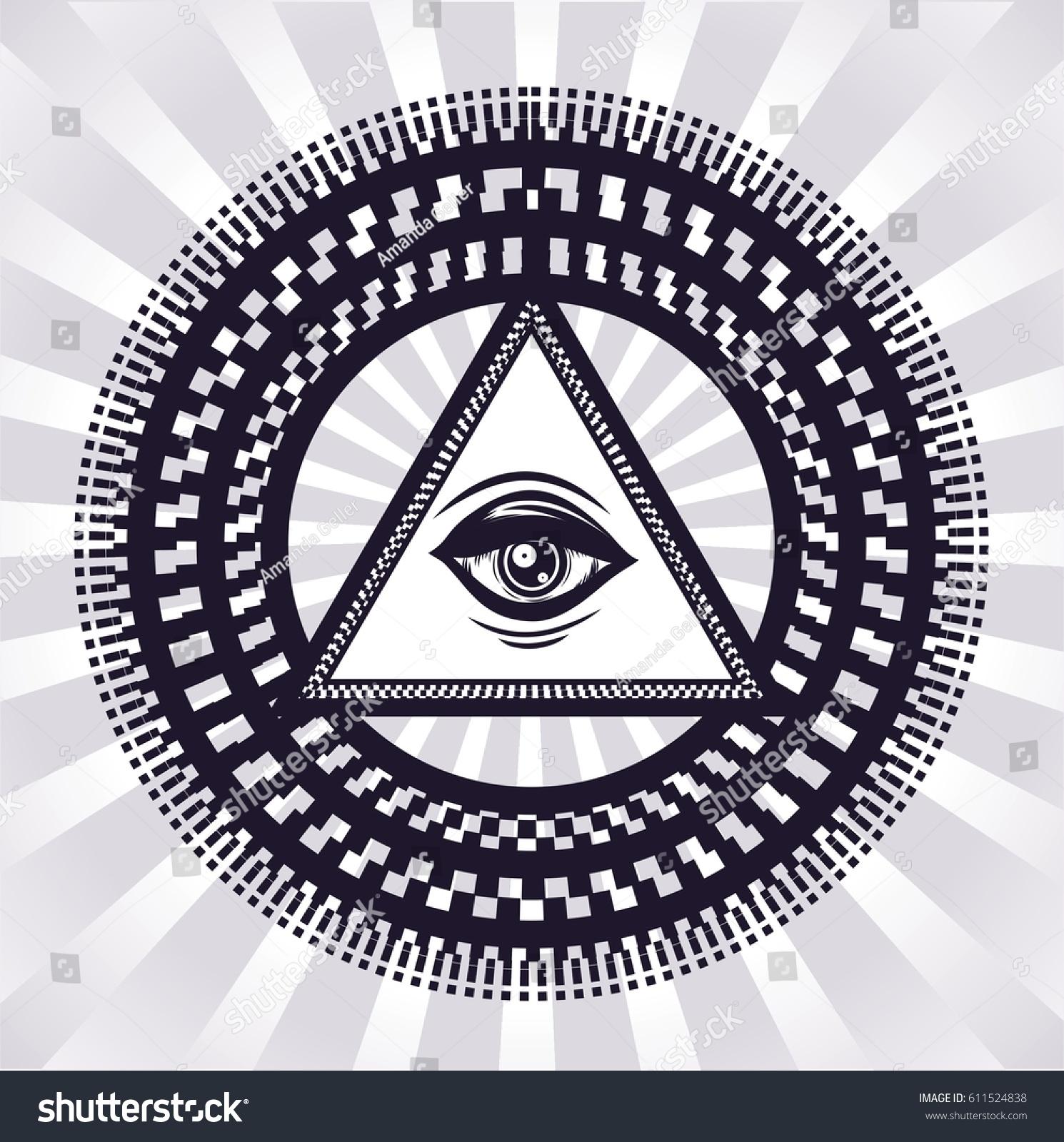 Hypnotic Circles Sacred Symbol Sketch Tattoo Stock Vector 2018