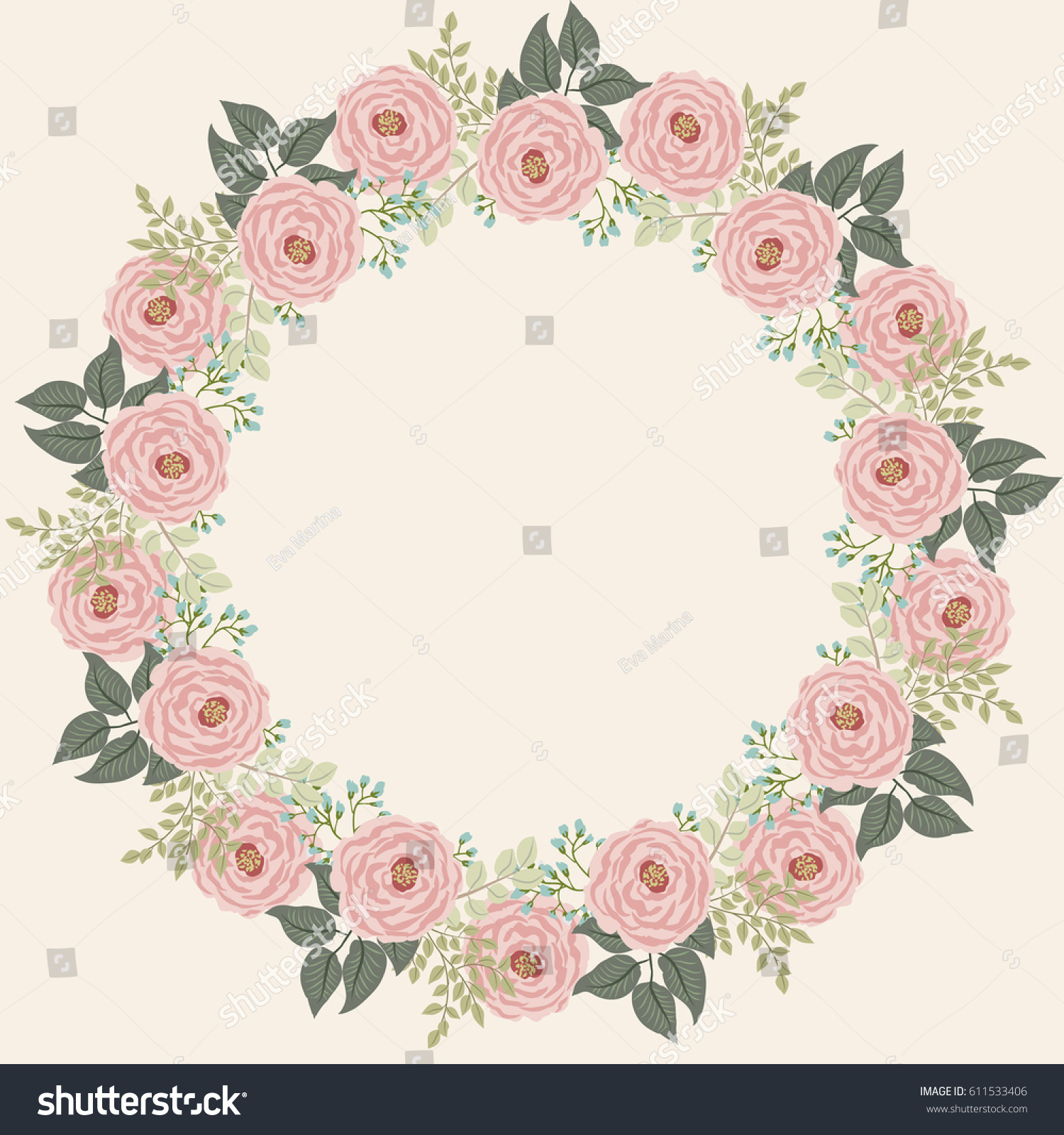 Floral Round Frames Cute Flowers Antique Stock Vector 611533406 ...