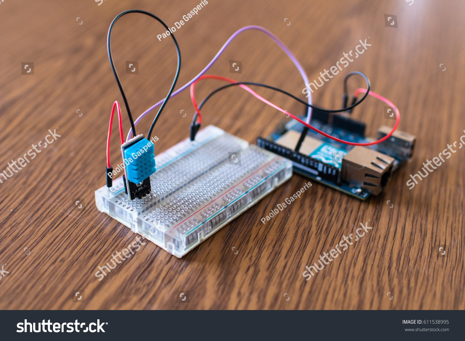 Humidity Temperature Sensor Prototype School Io T Stock Photo Edit Electronic Component Circuit And At For Iot Device Weather Box Diy In