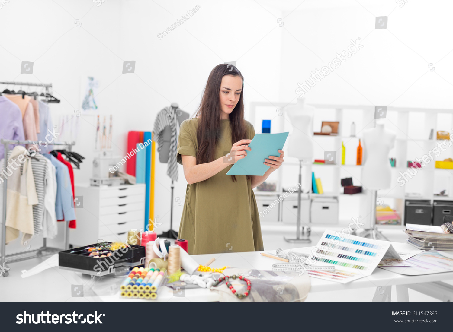 Young Fashion Designer Her Workshop Looking Stock Photo Edit Now 611547395