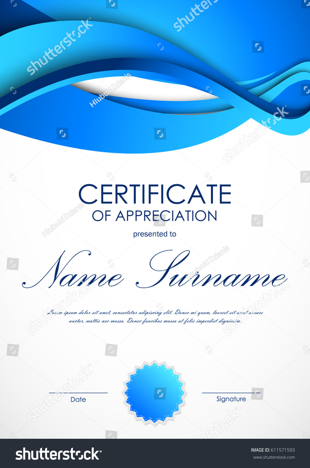 Certificate Appreciation Template Blue Dynamic Material Stock Vector