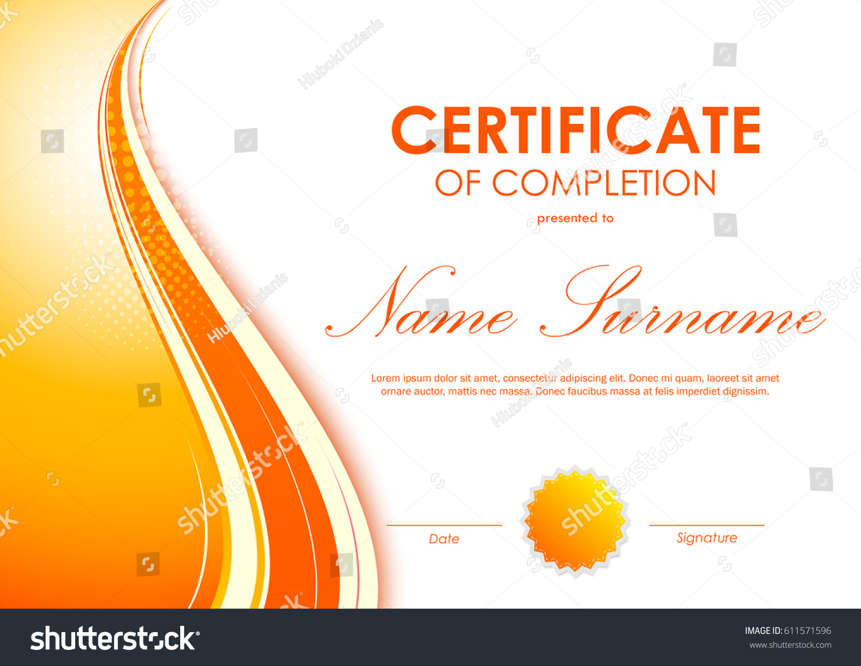 Certificate completion template digital vivid orange stock vector certificate of completion template with digital vivid orange wavy background and seal vector illustration yadclub Images