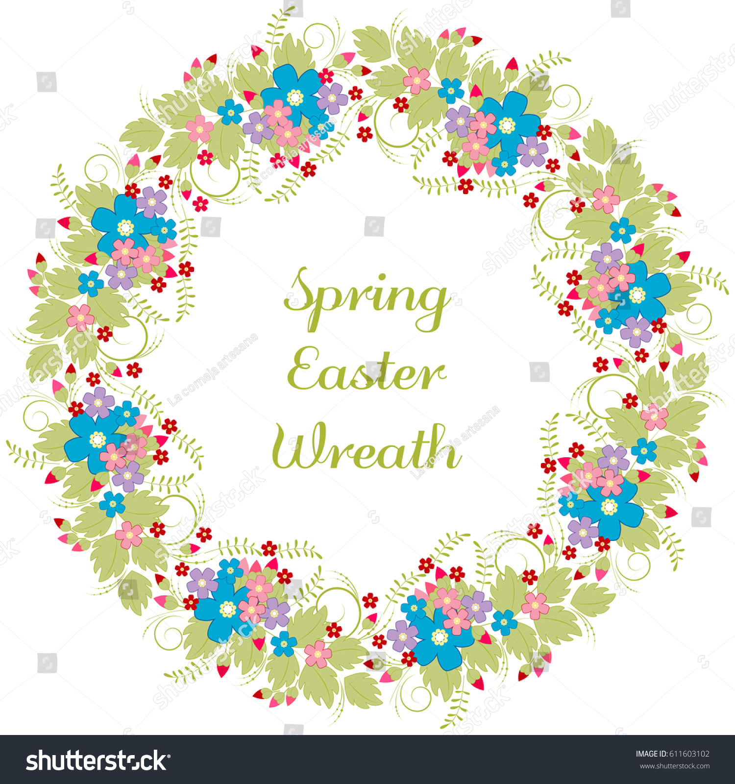 Easter Wreath Greeting Card Floral Frame Stock Vector Royalty Free