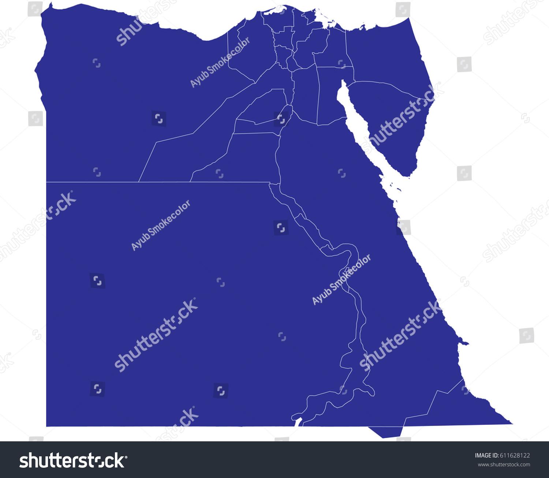 High Detailed Blue Vector Map Egypt Stock Vector - Map of egypt detailed