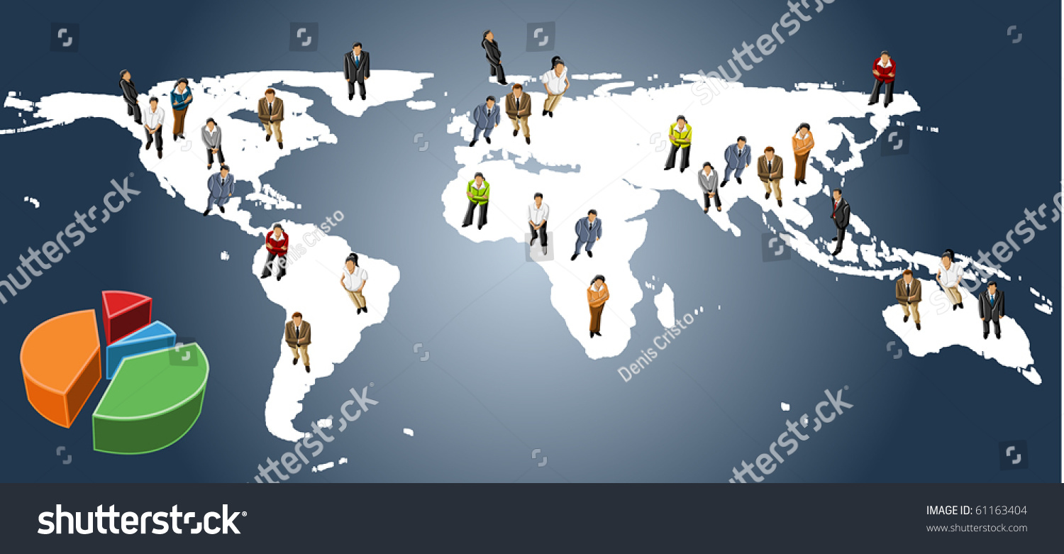 Group Business People Over Earth Map Vector 61163404 – Erth Map