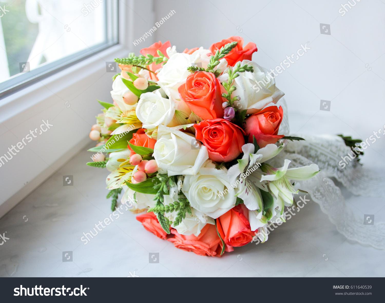 Wedding Bouquet Orange White Roses On Stock Photo Edit Now