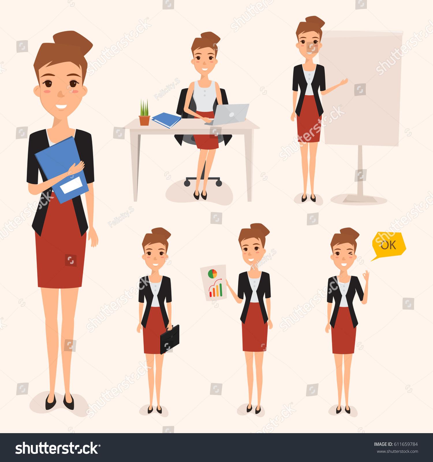Character Design Career : Set business woman working job people stock vector