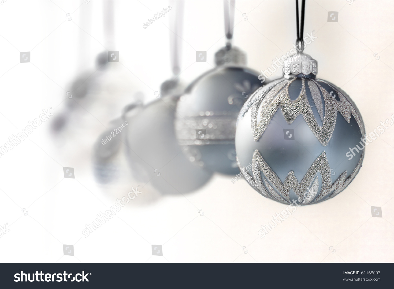 Blue Grey Luxury Christmas Ornaments Focus Stock Photo 61168003 ...