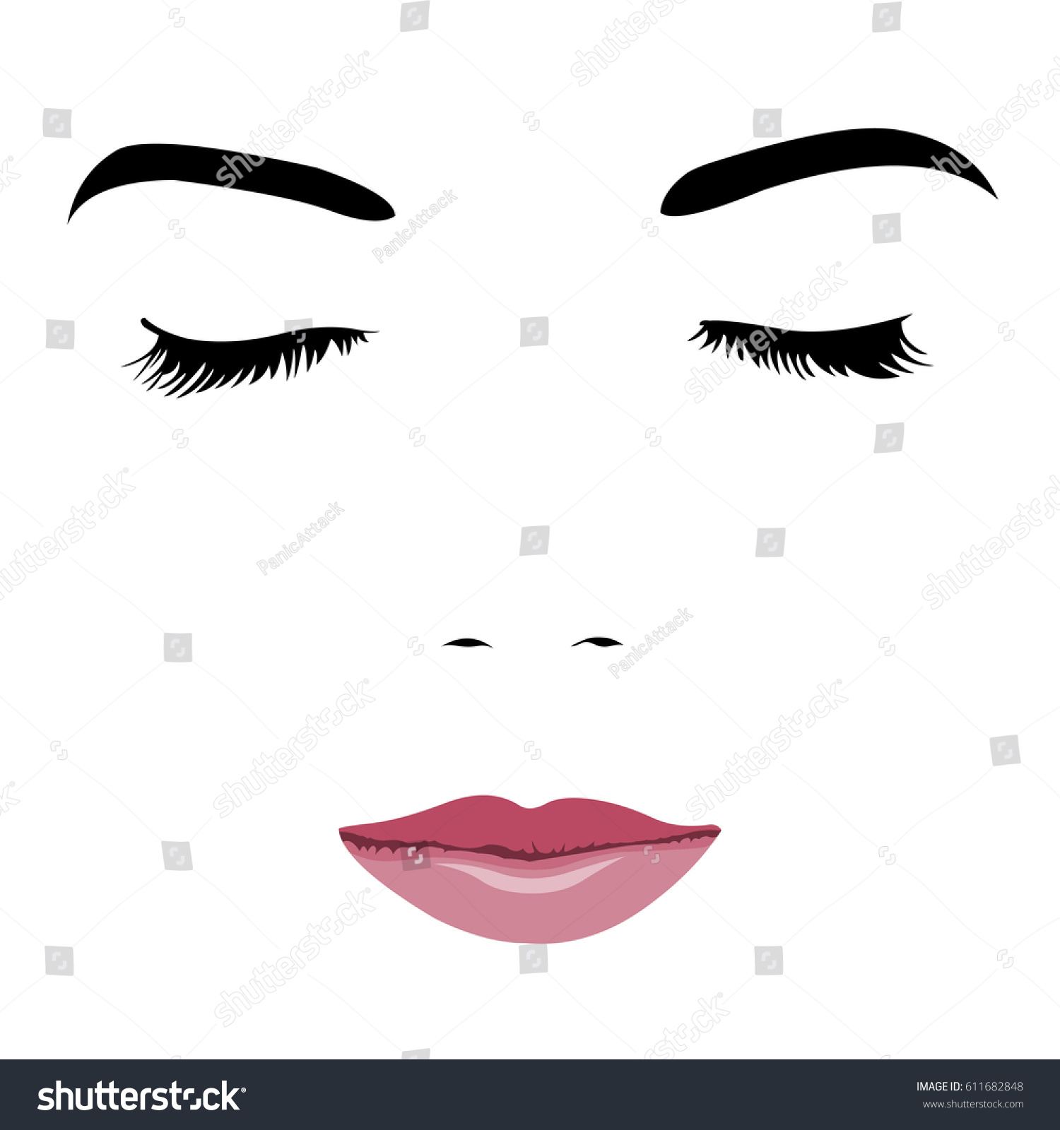 Pop Art Style Simplified Portrait Young Stock Vector Royalty Free 611682848