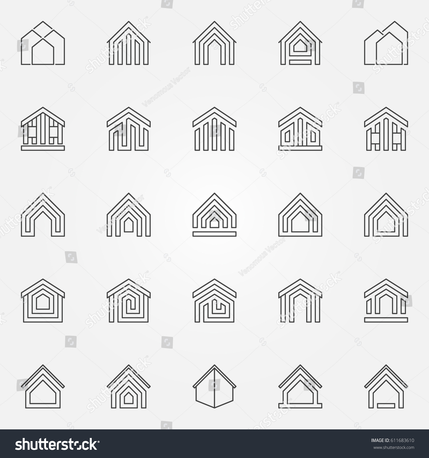 House icons set vector real estate stock vector 611683610 house icons set vector real estate concept symbols or logo elements in thin line style biocorpaavc Image collections